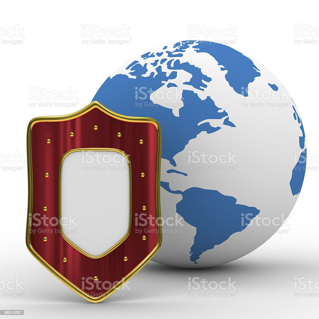 globe and shield on white background. isolated 3D image - Royaltyfri Form Bildbanksbilder