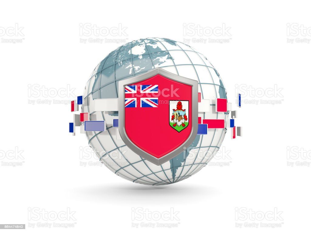 Globe and shield with flag of bermuda isolated on white stock photo