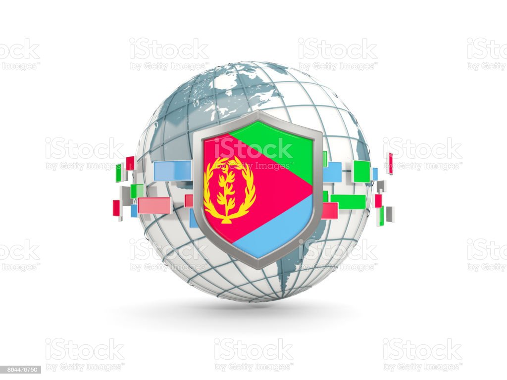 Globe and shield with flag of eritrea isolated on white stock photo