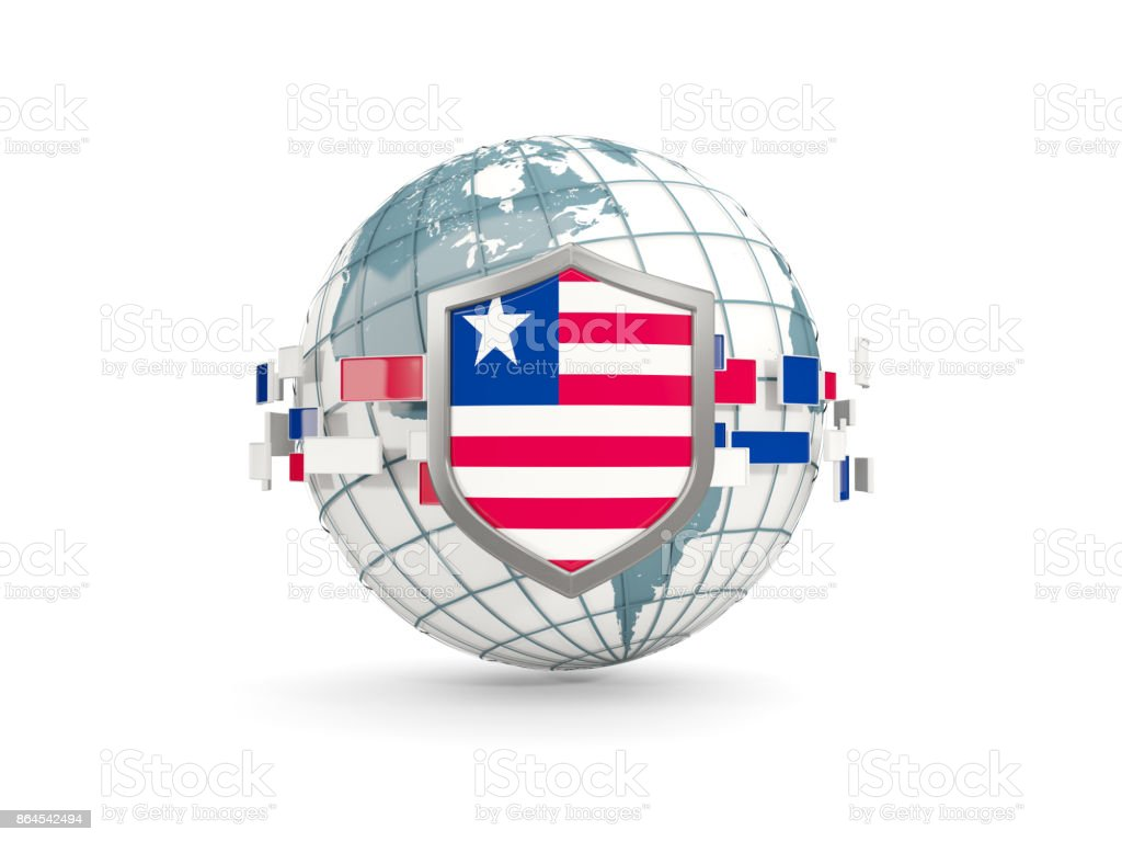 Globe and shield with flag of liberia isolated on white stock photo