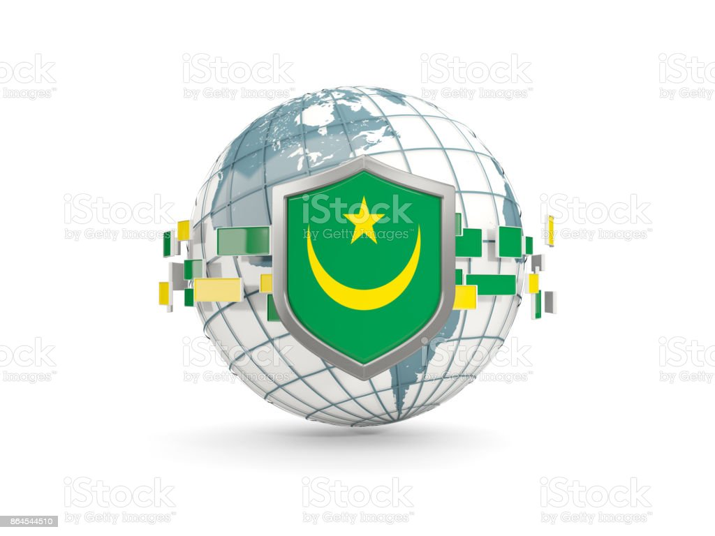 Globe and shield with flag of mauritania isolated on white stock photo