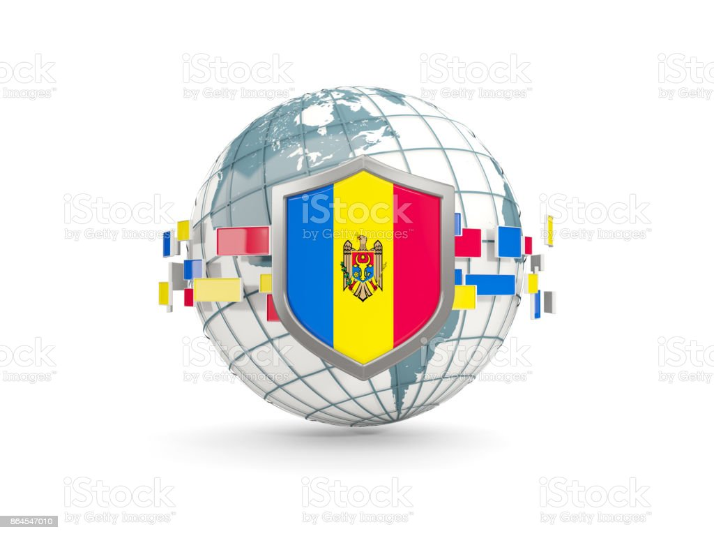 Globe and shield with flag of moldova isolated on white stock photo