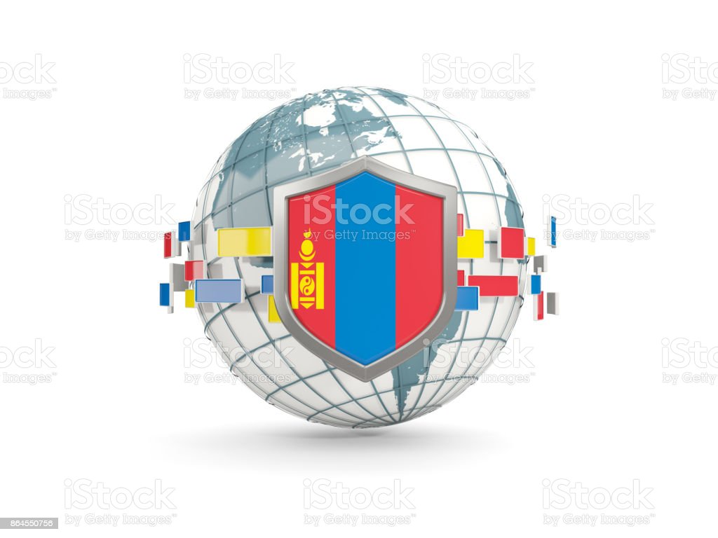 Globe and shield with flag of mongolia isolated on white stock photo