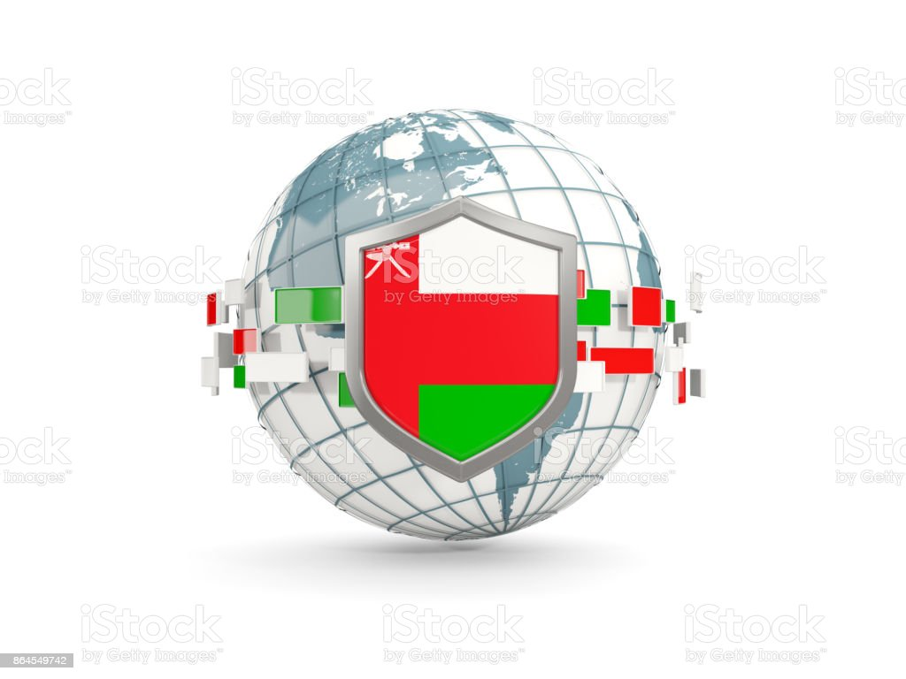 Globe and shield with flag of oman isolated on white stock photo