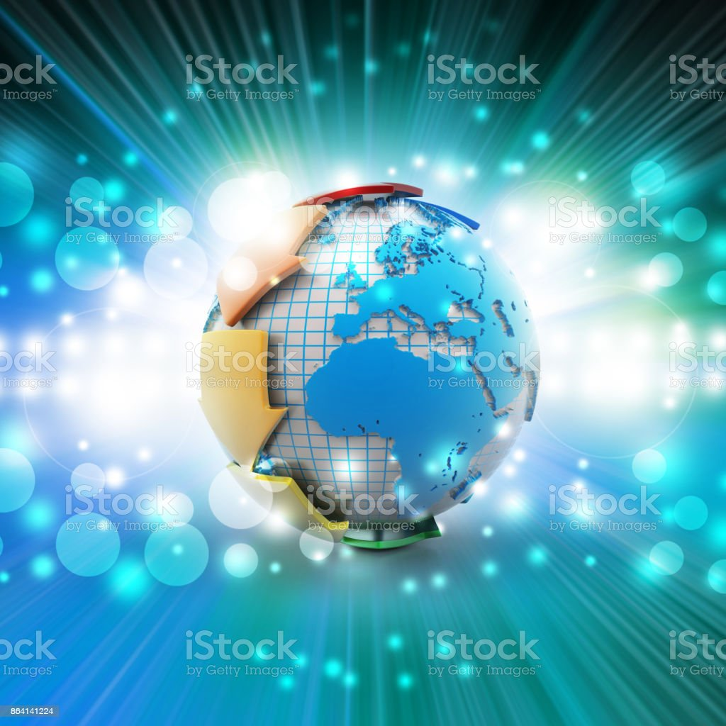 Globe around with arrow royalty-free stock photo