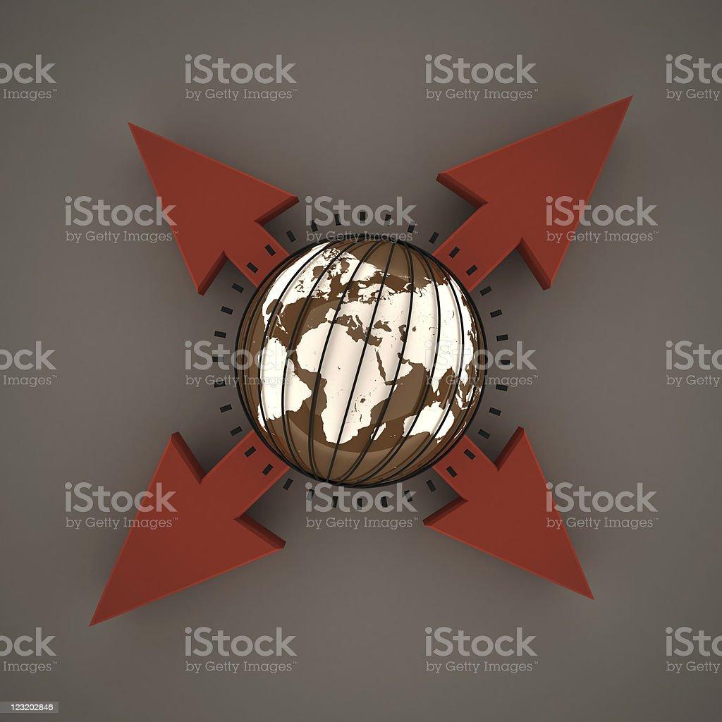 Globe & arrows royalty-free stock photo