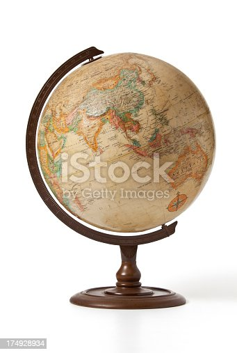An old globe showing Indonesia,China,Philippines and India, Pakistan.
