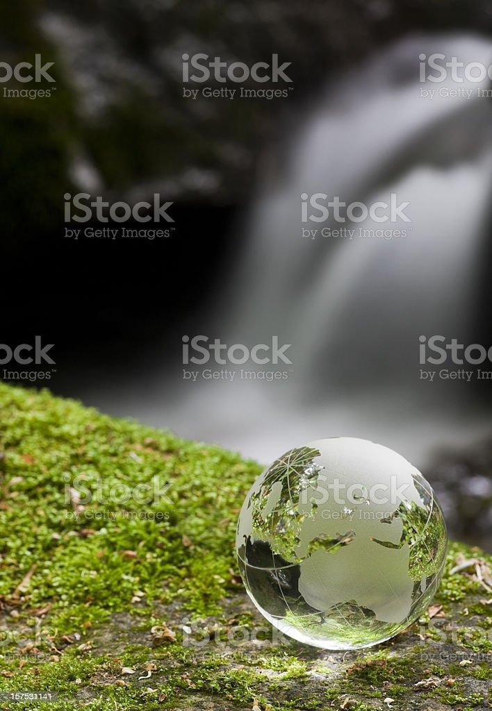 Globe at Waterfall royalty-free stock photo