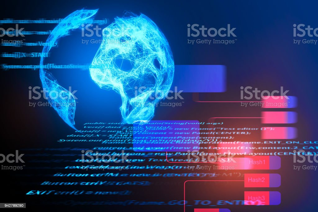 HTML globe background stock photo