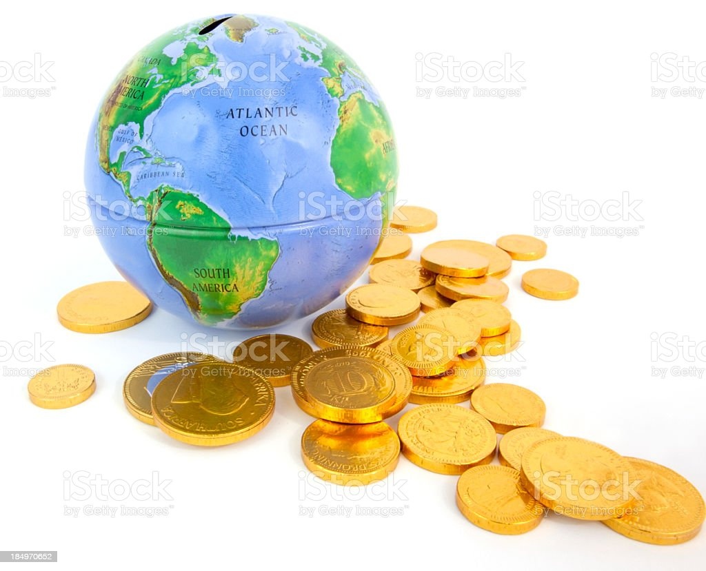 Globe Bank and Gold Coins stock photo