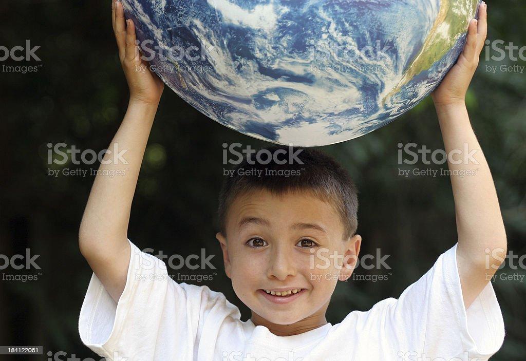 Globe boy royalty-free stock photo