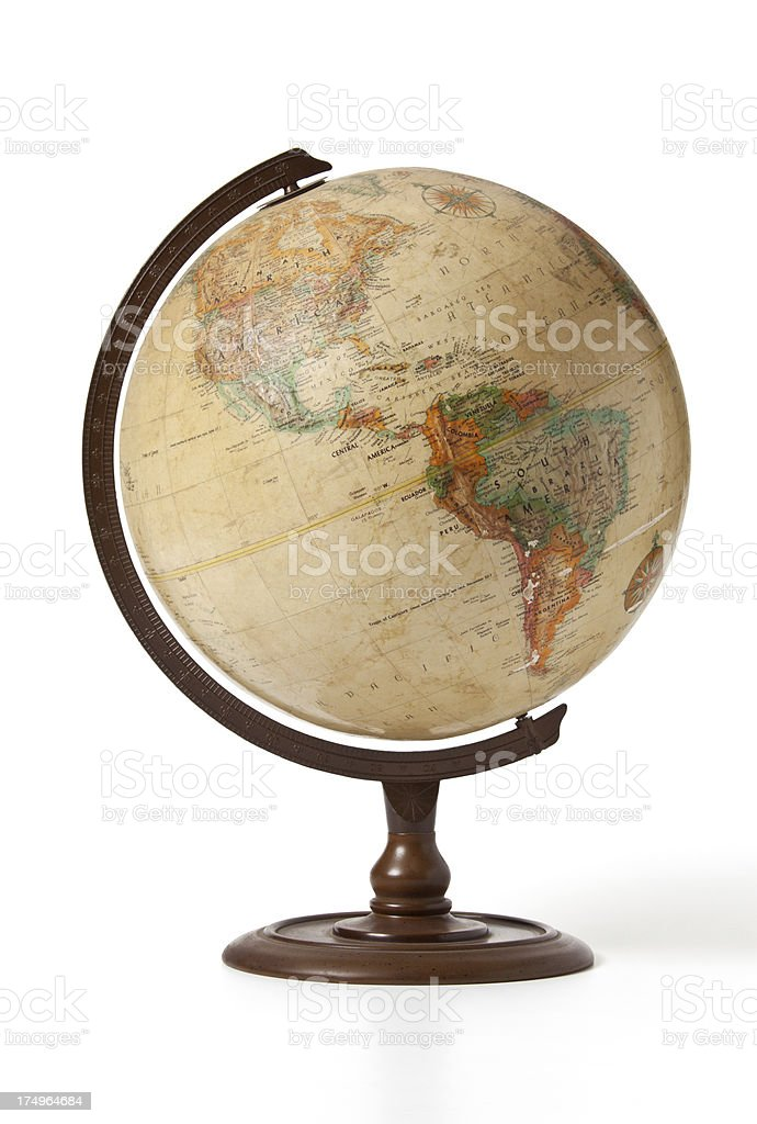 "globe central America ""An old globe showing South America, Colombia, Peru, Mexico, America. There are some worn patches on the globe.Note: this is an old globe, some of the countries on it may not still be around anymore."" Antique Stock Photo"