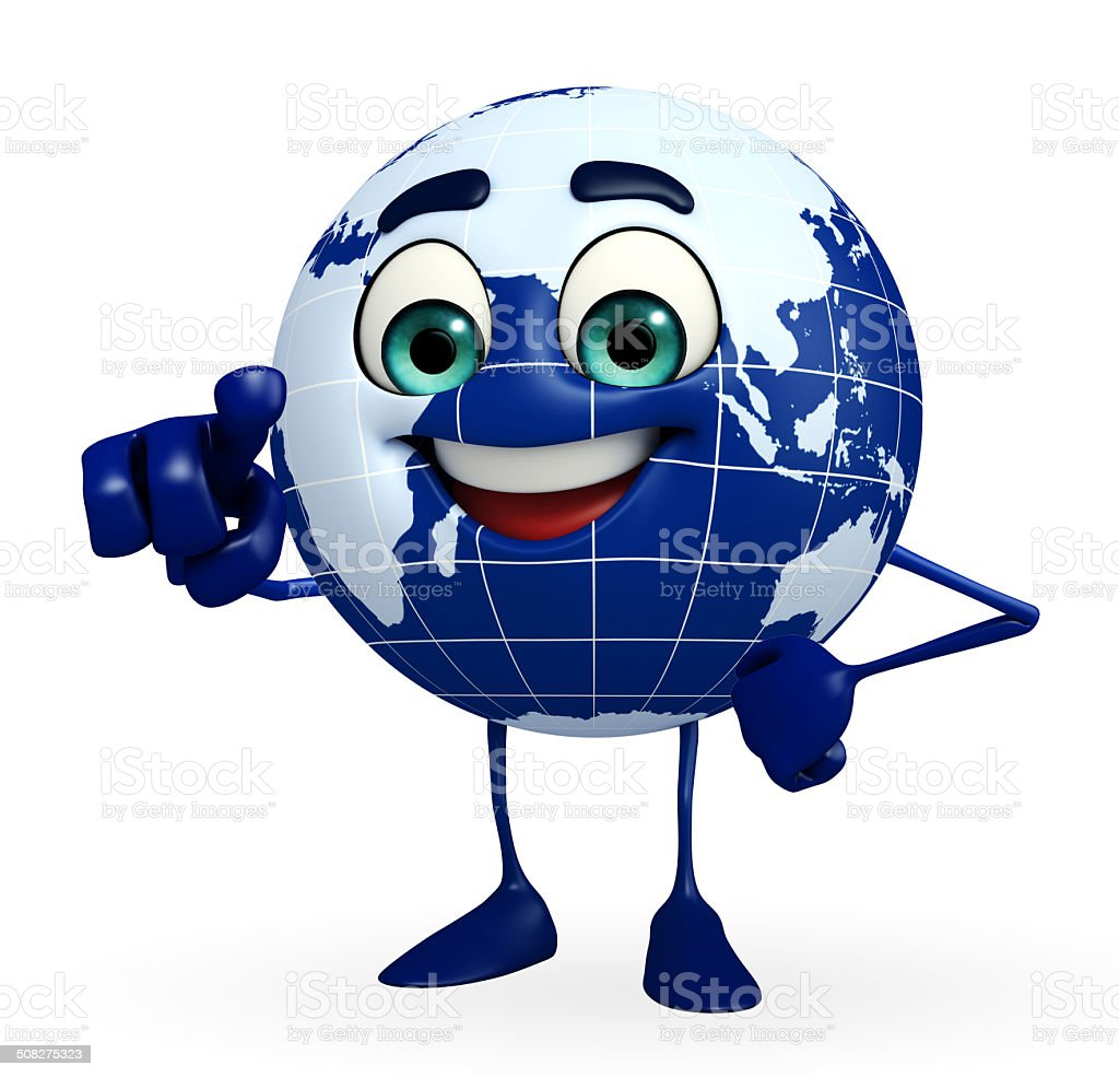 Globe Character is pointing stock photo