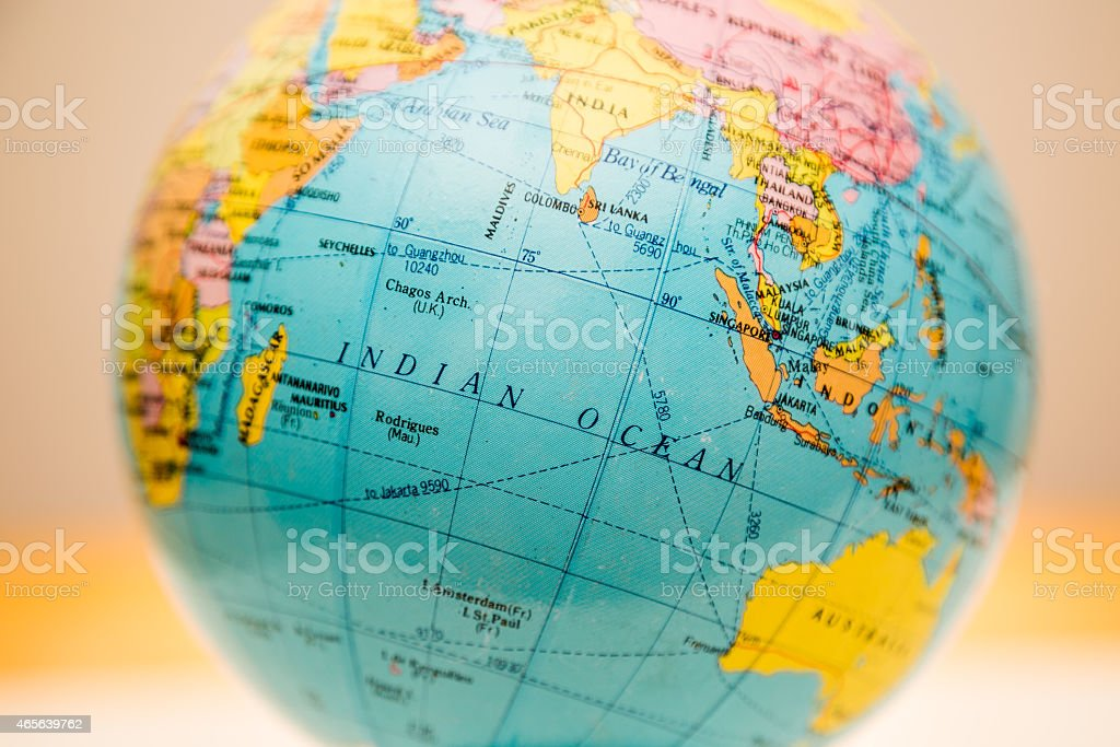 Globe close up, indian ocean past stock photo