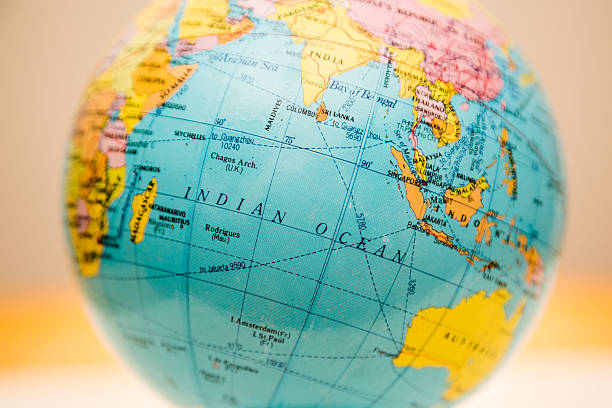 Globe close up, indian ocean past stock photo