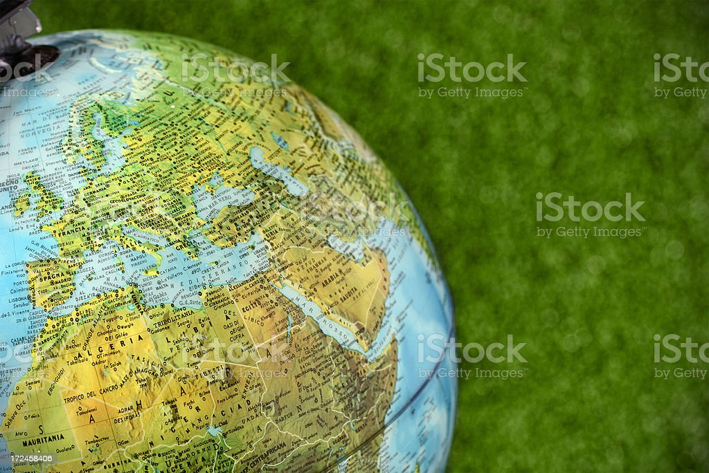 Globe close up on Europe, Middle East and Africa royalty-free stock photo