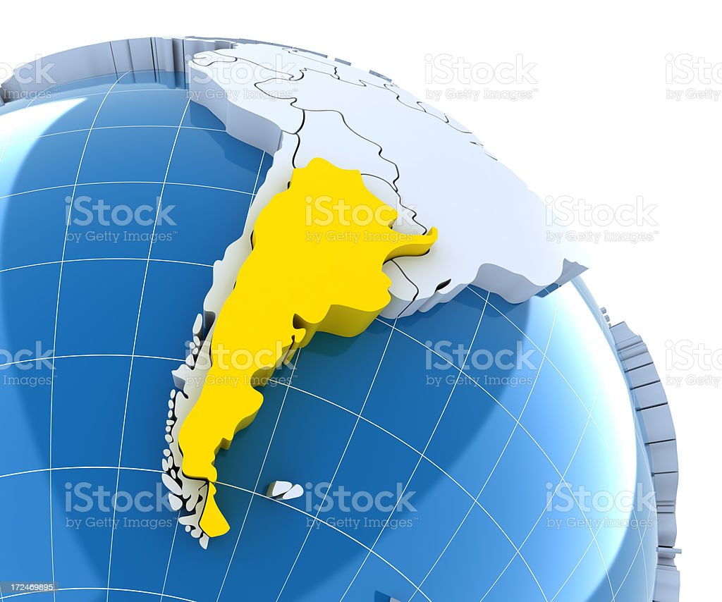 Globe, close-up on Argentina royalty-free stock photo