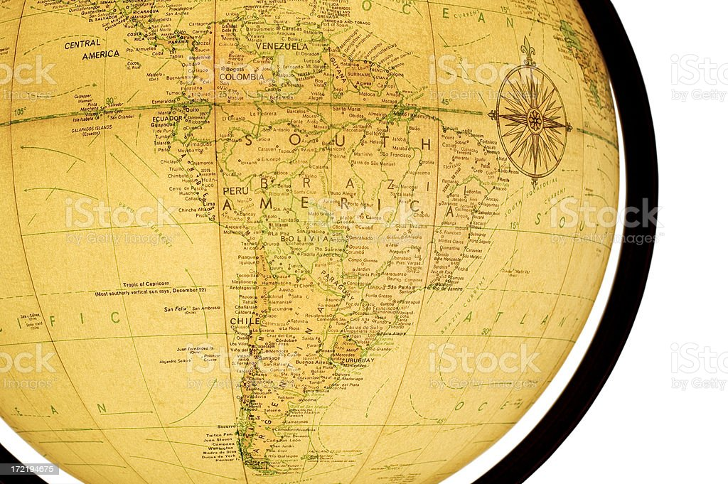 Globe Close-up: South America royalty-free stock photo