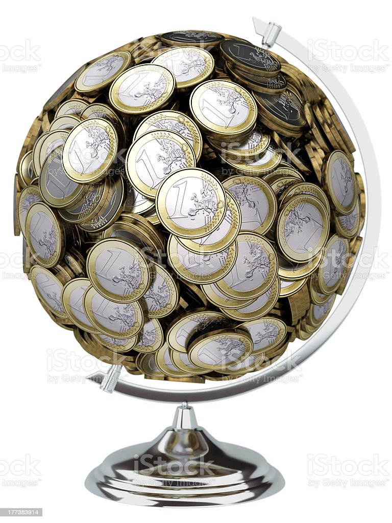 globe collected from the European money isolated on white background royalty-free stock photo