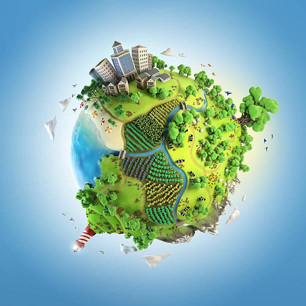 globe concept of idyllic green world - 卡通 個照片及圖片檔