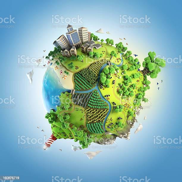 Photo of globe concept of idyllic green world
