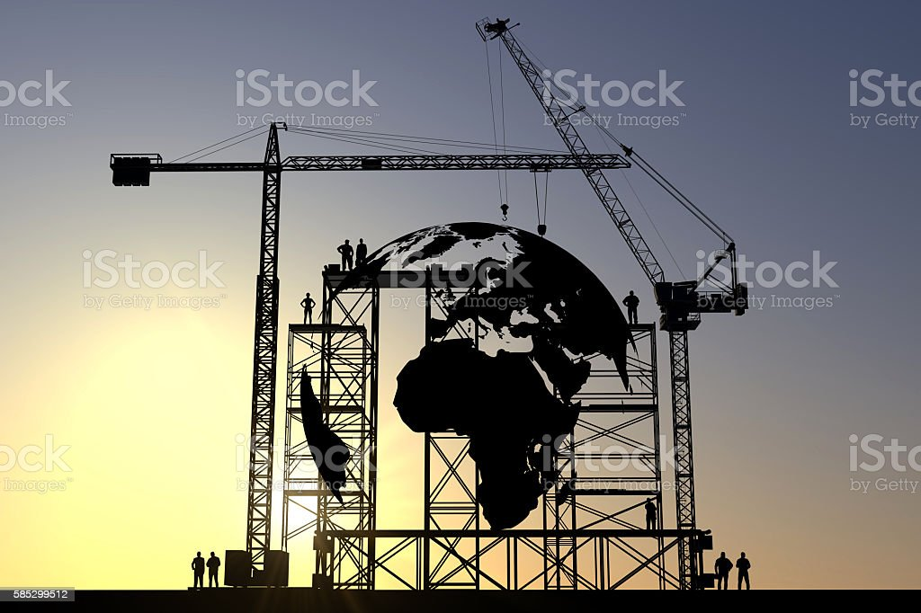 Globe construction site stock photo