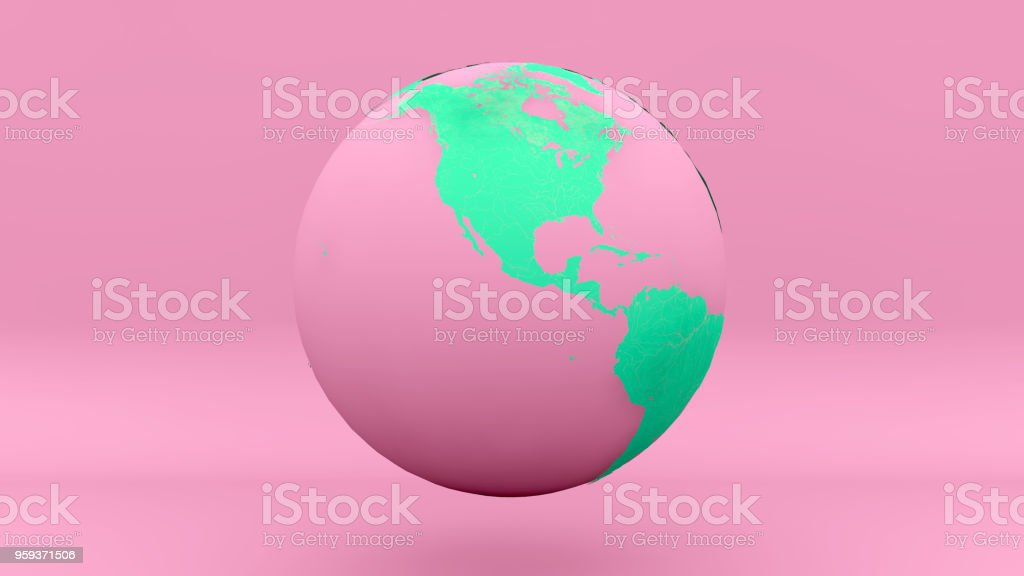 globe earth America pink green stock photo