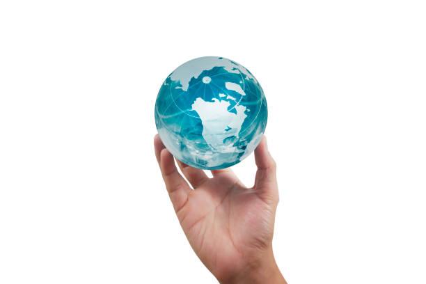 Globus, Erde in der Hand, halten unseren Planeten glühend. Erdbild der Nasa – Foto