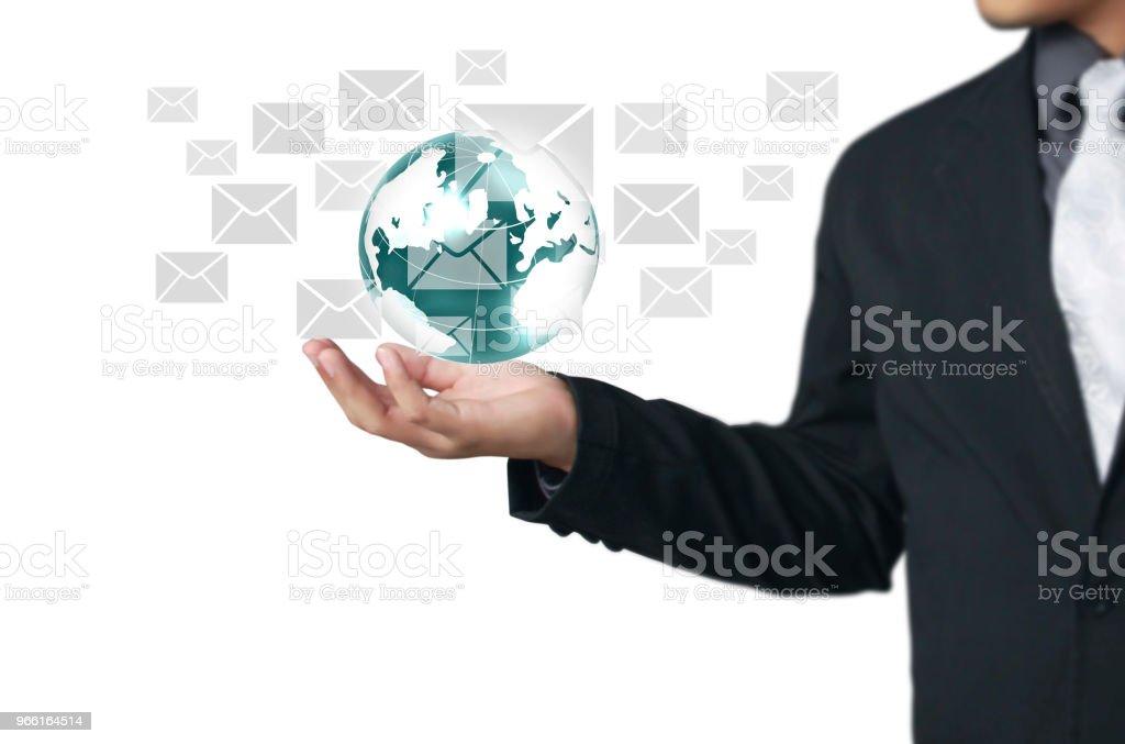 Globe, aarde in menselijke handbeeld aarde geboden door Nasa - Royalty-free Bedrijfsleven Stockfoto