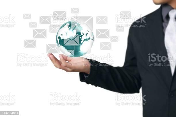Globe Aarde In Menselijke Handbeeld Aarde Geboden Door Nasa Stockfoto en meer beelden van Bedrijfsleven
