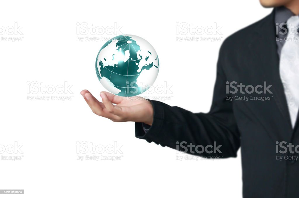 Globe ,earth in human hand Earth image provided by Nasa - Foto stock royalty-free di Adulto