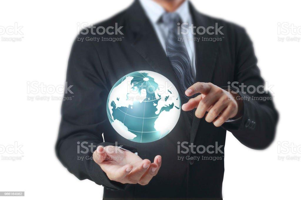 Globe ,earth in human hand Earth image provided by Nasa - Foto stock royalty-free di Adulto