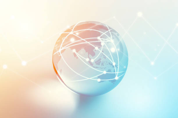 Globe Focus on Asia Pac with Technology Geometric Network Graphic Globe focus on Asia Pac with technology geometric network graphic. global village stock pictures, royalty-free photos & images