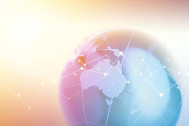 Globe Fokus auf Australien mit Technology Geometric Network Graphic – Foto