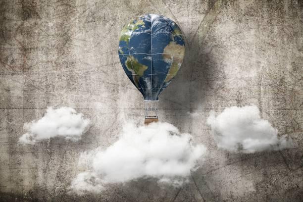 globo aerostático, concepto de día de la tierra, render 3d. Elementos de esta imagen proporcionada por la NASA - foto de stock