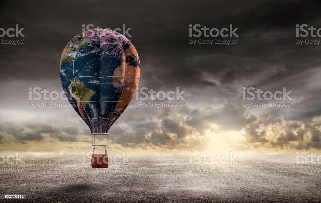 Globus-Heißluftballon, Erde Tag Konzept, 3d Rendering. Elemente dieses Bildes, eingerichtet von der NASA – Foto
