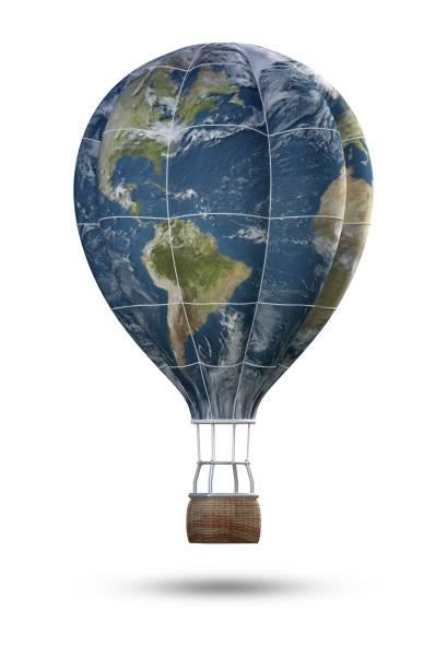 Globus-Heißluftballon isoliert auf weißem Hintergrund, 3d Rendering. Elemente dieses Bildes, eingerichtet von der NASA – Foto