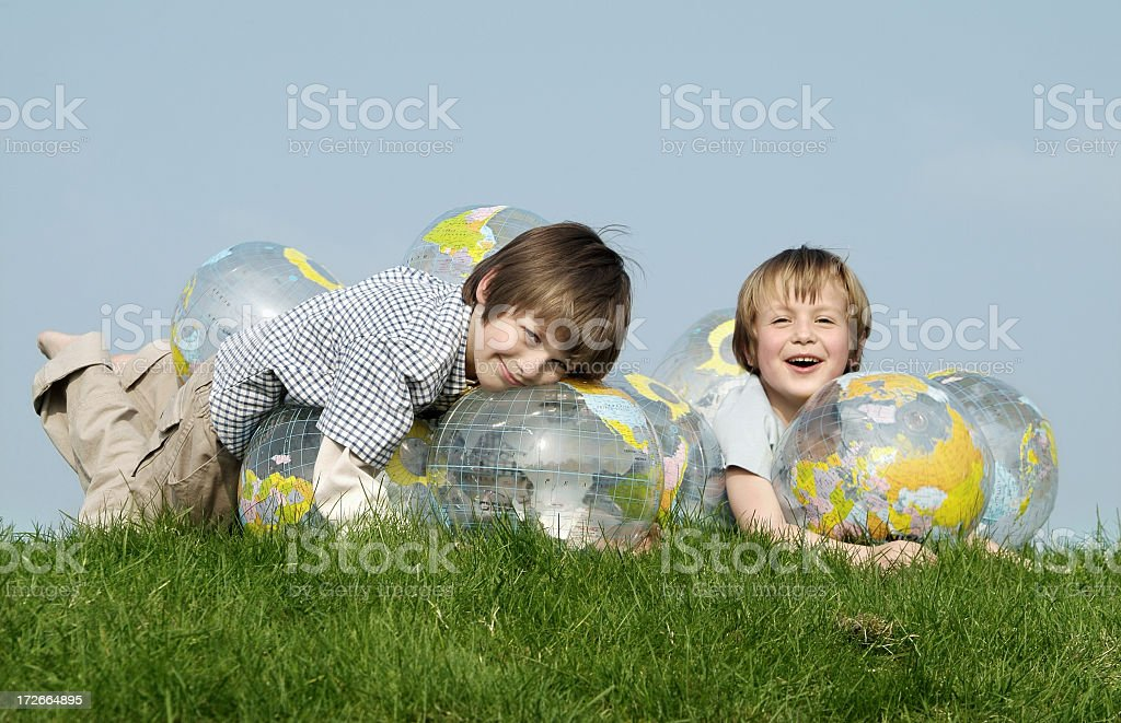 Globe & Kids serie royalty-free stock photo