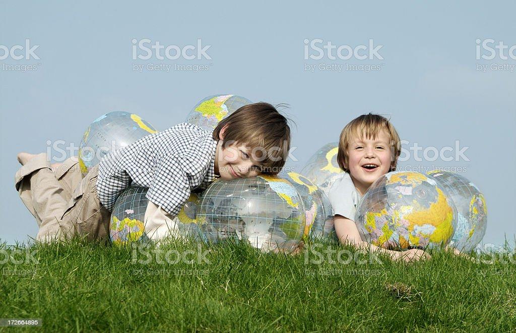 Globe & Kids serie stock photo