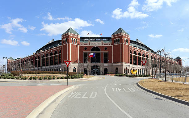 Globe Life Park in Arlington Arlington, Texas, USA – March 14, 2014: Globe Life Park in Arlington located in Arlington, Texas. Formerly known as Rangers Ballpark in Arlington, the ballpark is home to The Texas Rangers baseball team. major league baseball stock pictures, royalty-free photos & images