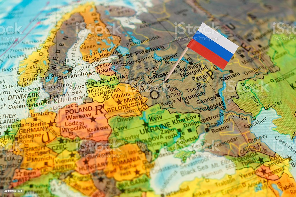 Globe map detail Russia with Russian Flag stock photo