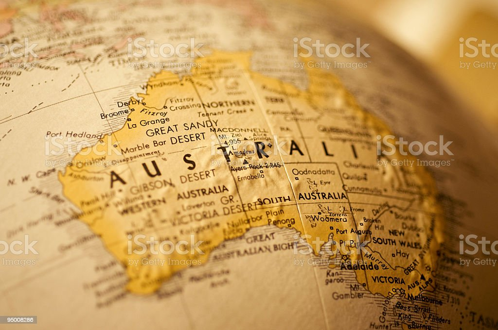 Globe Map of Australia stock photo