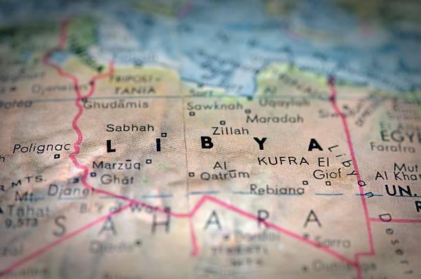 Globe Map of Libya stock photo
