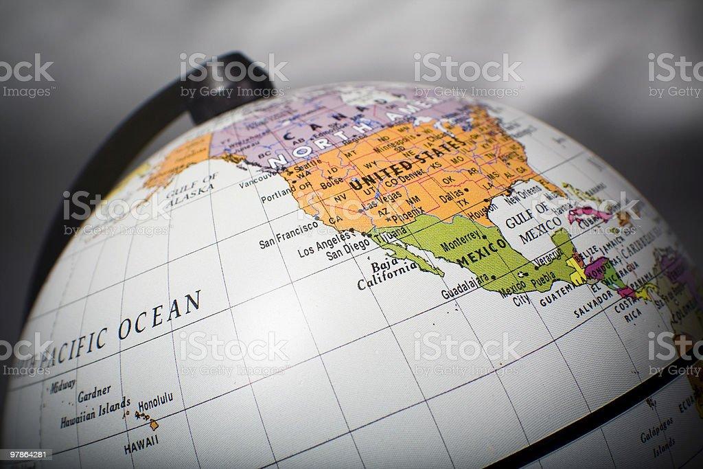 Globe Map West Coast Of North America Stock Photo IStock - Usa globe map