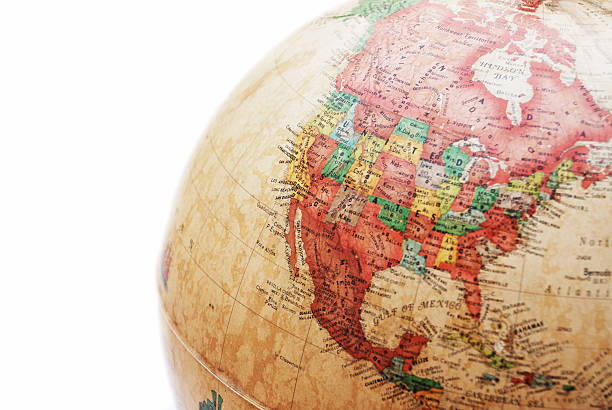 globe north america canada on globe civil war memorial minnesota stock pictures, royalty-free photos & images
