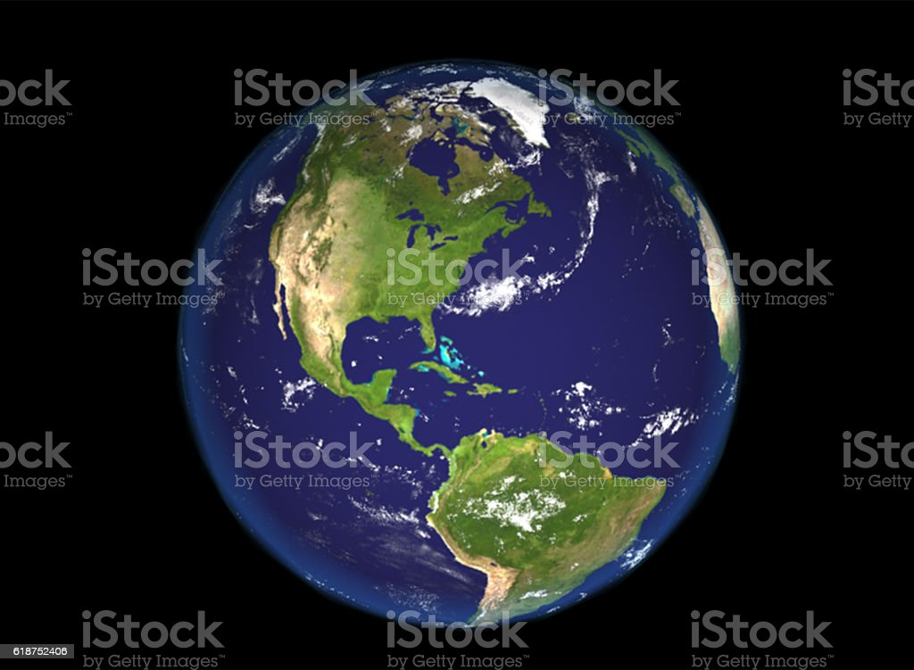 Globe north and south america illustration, 3d render illustration. stock photo