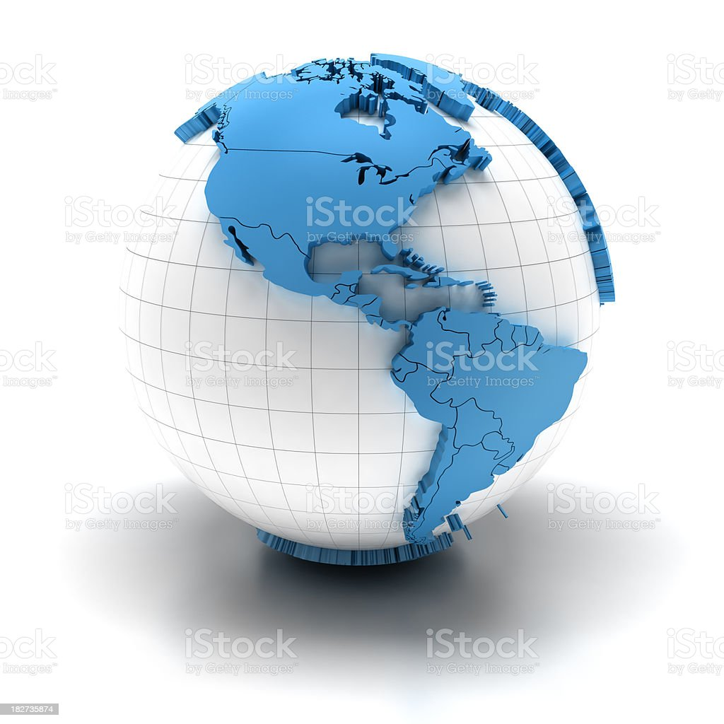 Globe of america with national borders, two clipping paths provided royalty-free stock photo