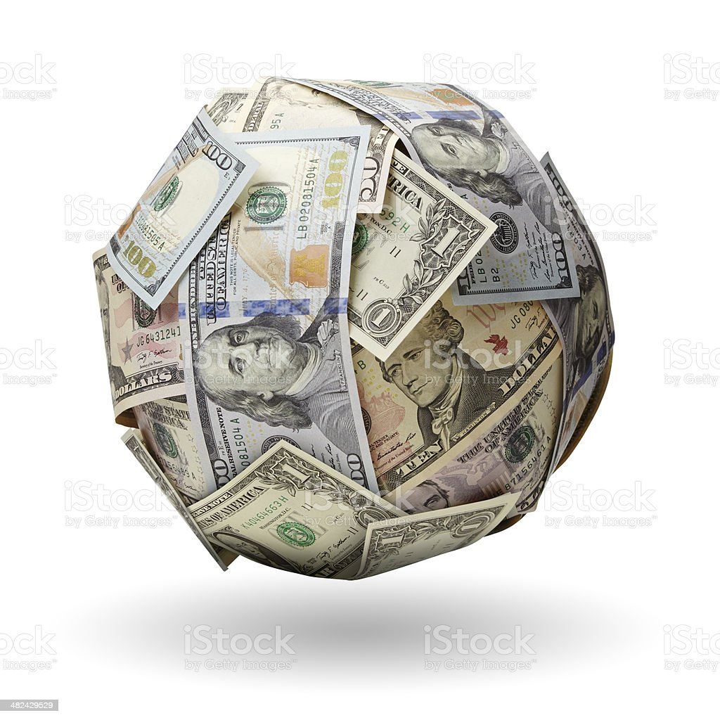 Globe of dollars notes with clipping path stock photo