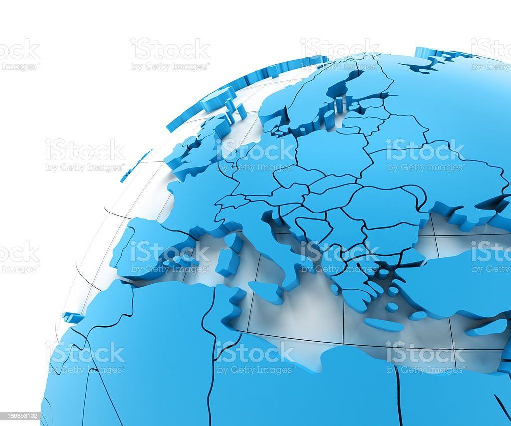 Globe of Europe with national borders, three clipping paths provided royalty-free stock photo