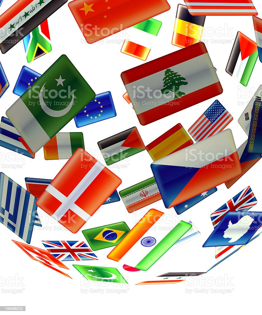 Globe of flags close up royalty-free stock photo